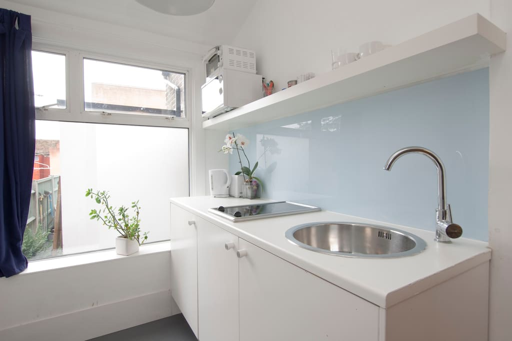 Fully equipped kitchenette with integrated fridge and single hob, microwave and mini-oven