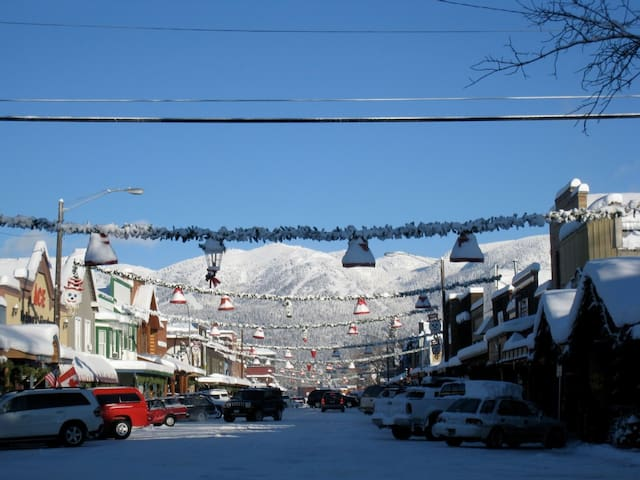 Winter view of ski area from downtown Whitefish