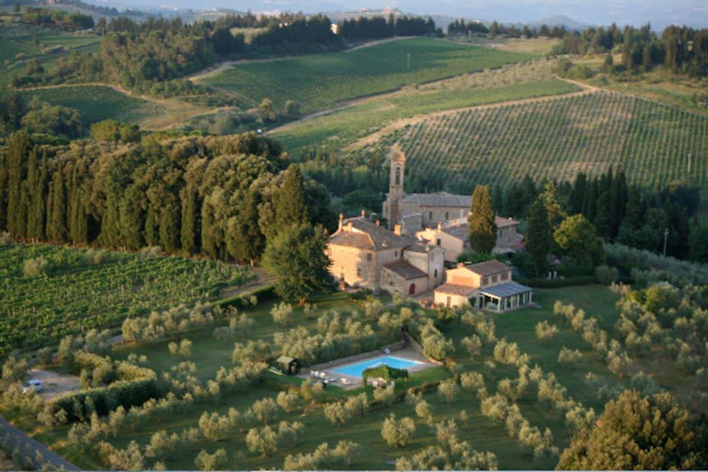 view of the villa n medieval hamlet
