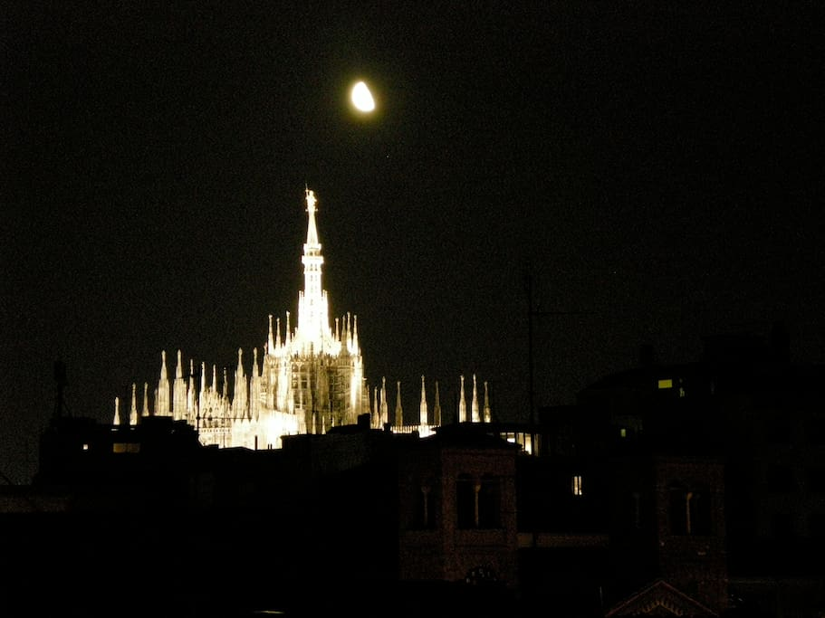 The Duomo and moon from the windows