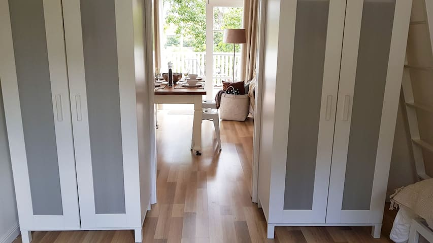 Sliding door through to bedrooms
