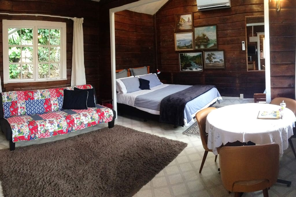 The Cottage can comfortably sleep 3 with a king-single sofa-bed in the living area & a Queen size bed in the bedroom area - linen supplied.