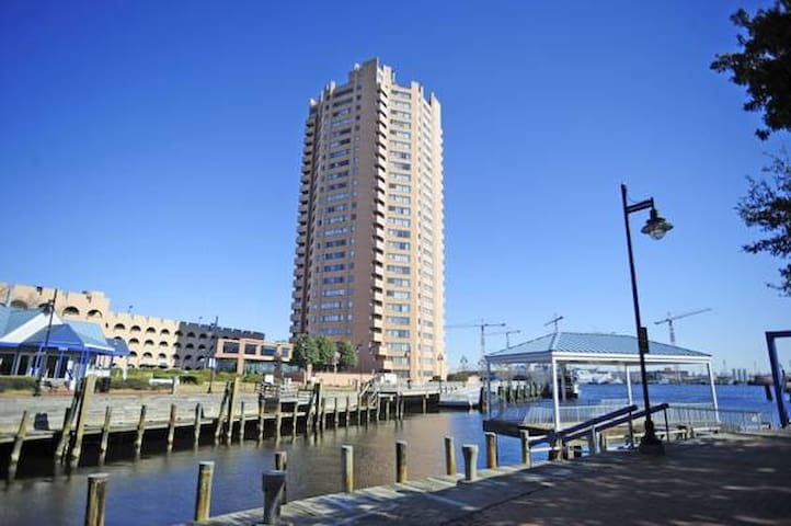 This apartment is located on the 25th floor, and overlooks the Elizabeth River- The perfect location for Portsmouth and Norfolk needs!