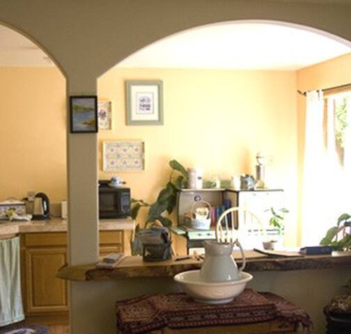 Common room with kitchenette. Full kitchen available in main house.