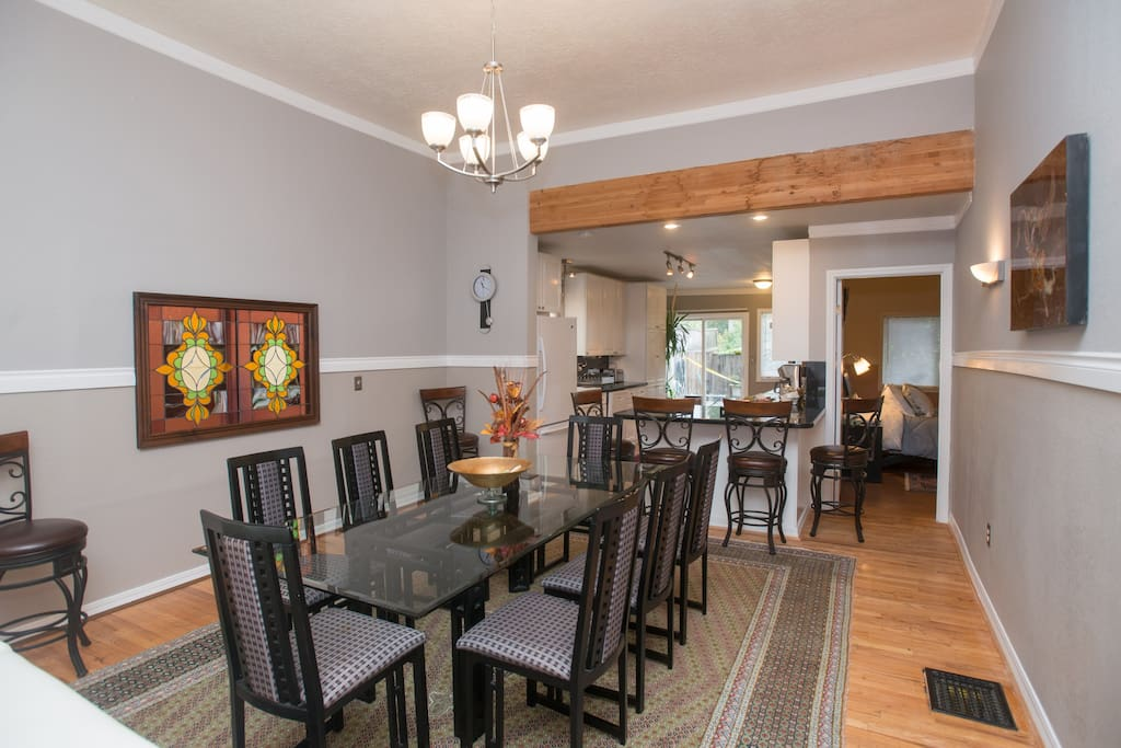 Eat or work at the large dining table or at the breakfast bar.