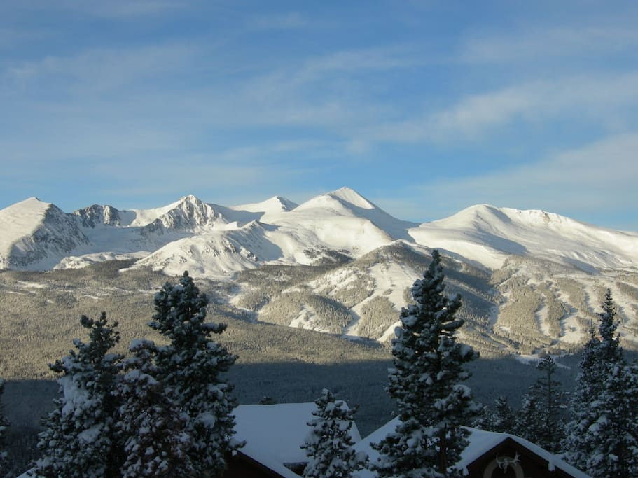 10 Mile Range view from your family room!  Obviously a spectacular view, and why we live here!!!  200 yds. to Summit Stage and Mount Baldy Trailhead for snowshoeing and hiking.