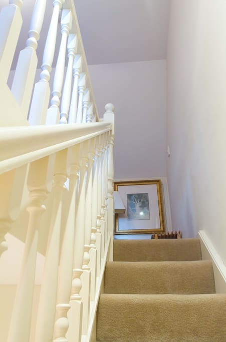 These stairs lead up to your private space: The Attic Room - note... no door