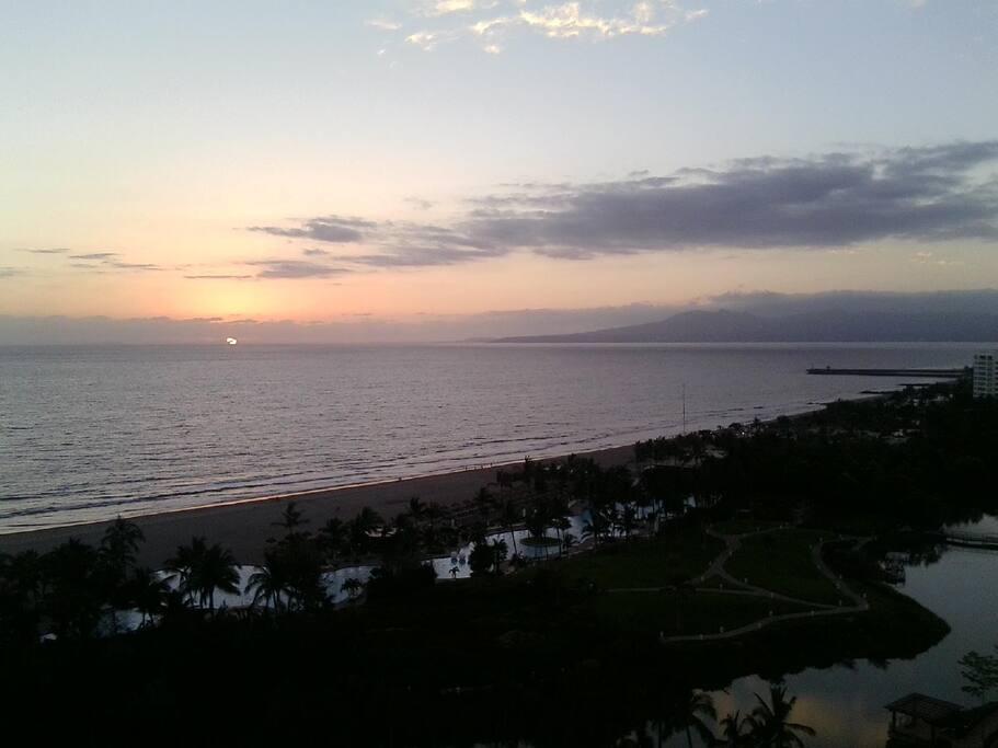 Sun setting over Banderas Bay