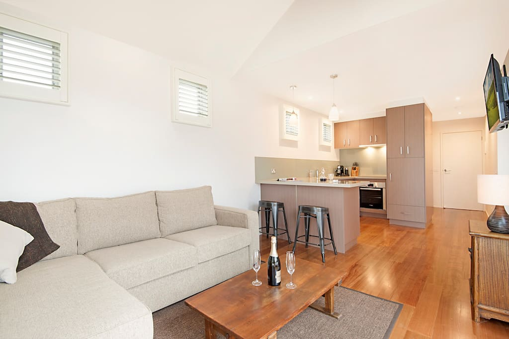 Open plan living, dining, kitchen area.  Perfect for singles or couples.