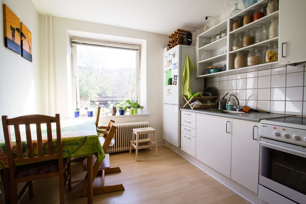 The kitchen - childfriendly, with childchair and childlock on the drawers and cabinets
