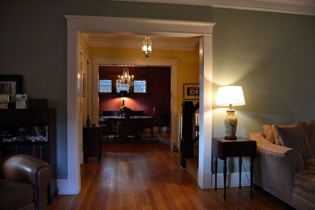 Entry and dining room. 100 year old wood floors throughout