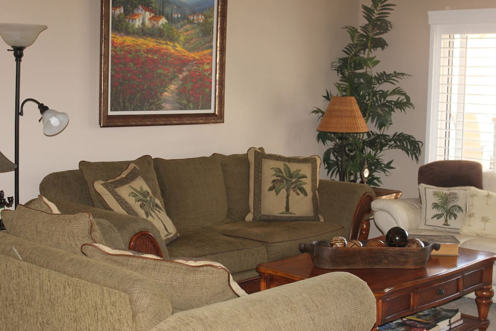 Living room with king size pull out couch and sitting for  7.