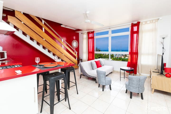 ☼ The Red Apt in Punaauia – w/Ocean view ☼