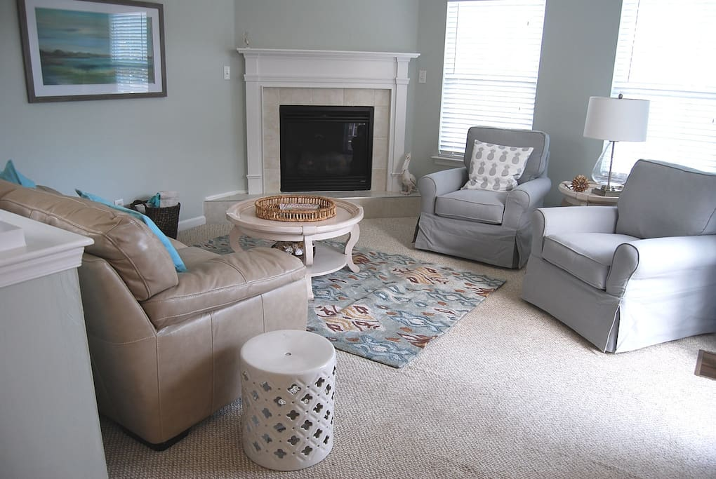 """All new furnishings, 50"""" smart TV will go over fireplace"""