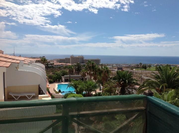 Top floor flat with great sea views and internet.