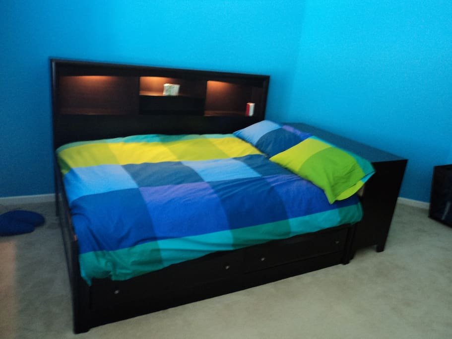Guest bedroom with full size bed and plenty of storage space in this large room