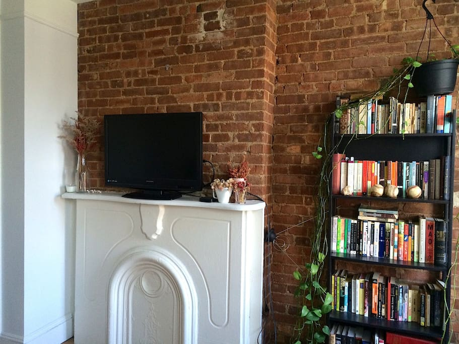 Bookshelf and TV with Apple TV