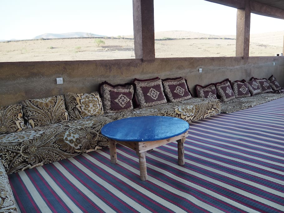 Our rooftop terrace, overlooking the Atlas Mountains