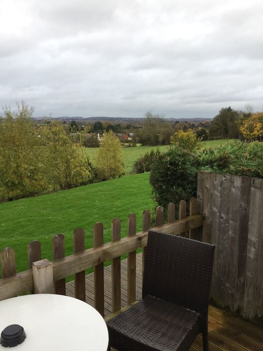 Outdoor seating with views over Worcester