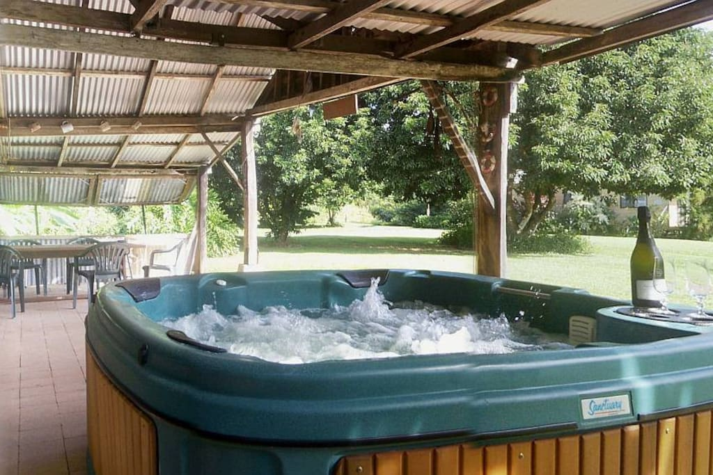 Relax in the jacuzzi while your barbeque is cooking!