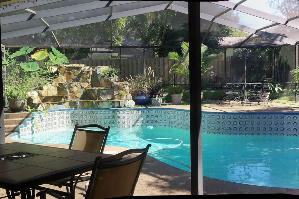 Screened Patio with Heated Pool and Waterfall