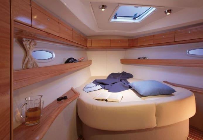 Cabin with en-suite in front NB: Bavaria Brochure photo