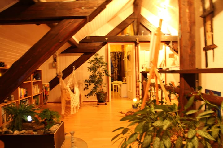 Charmante chambre boisée sous toit