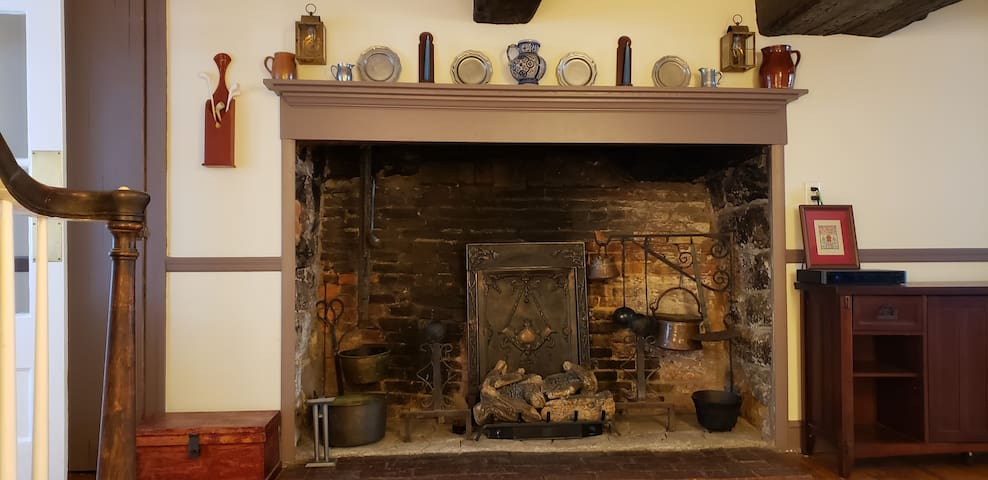 Living room- Colonial fireplace (decorative only)