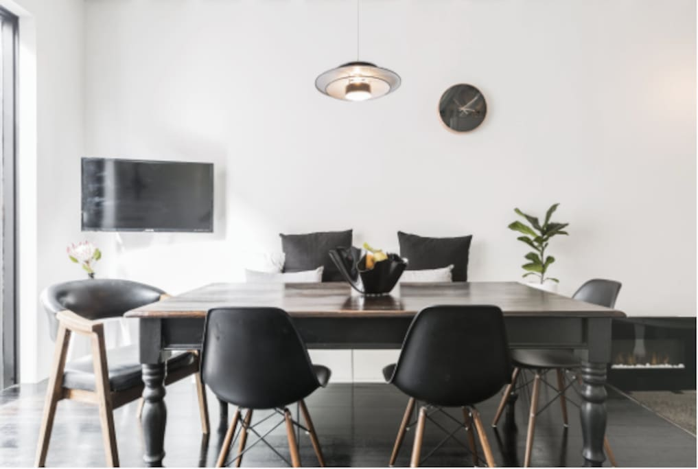 Scandinavian Dining with luxe copper accents  (note brand new 8 seater dining table not featured in shot)