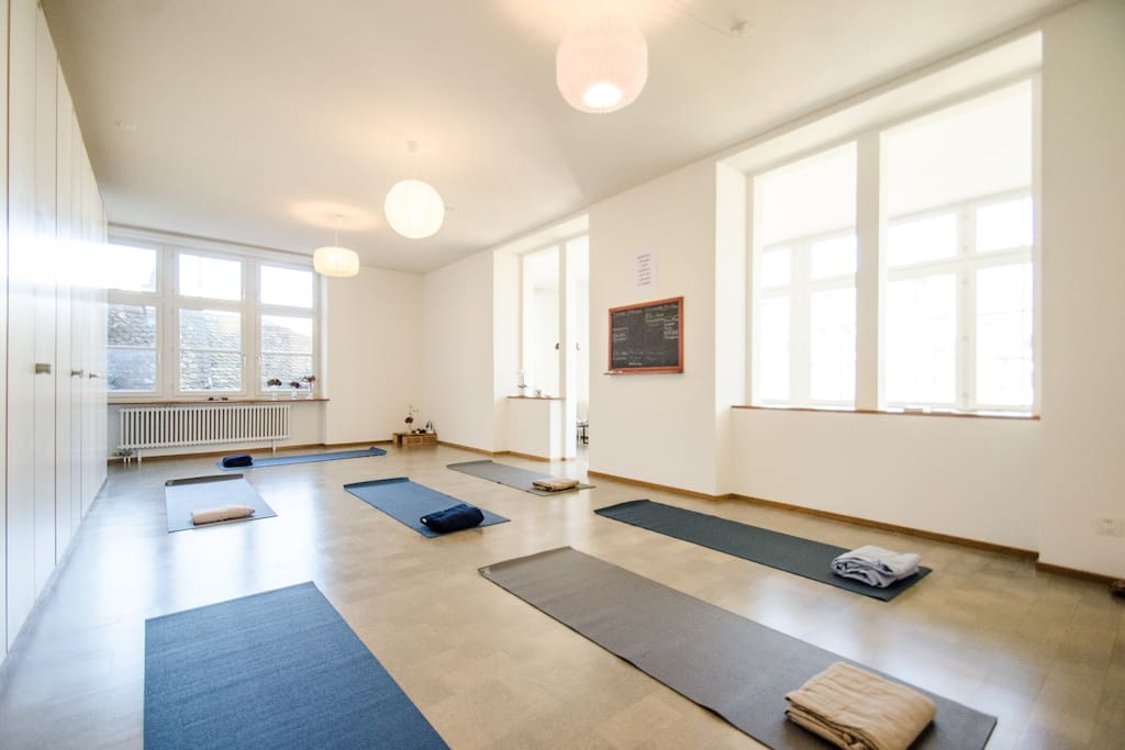 With yoga mats - big and bright room