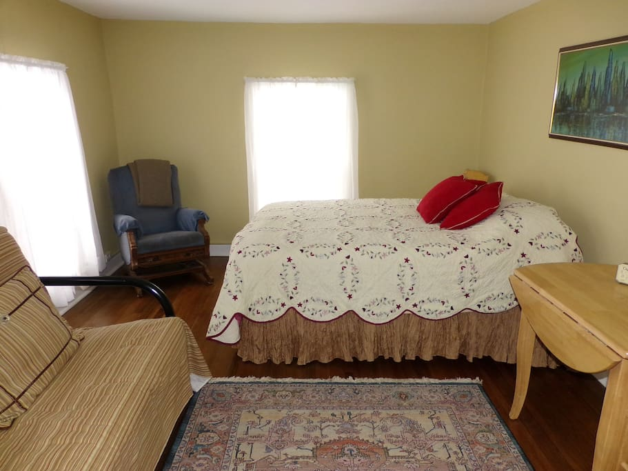 One of our suites-Beige room w/ queen bed and futon facing Lake Pepin