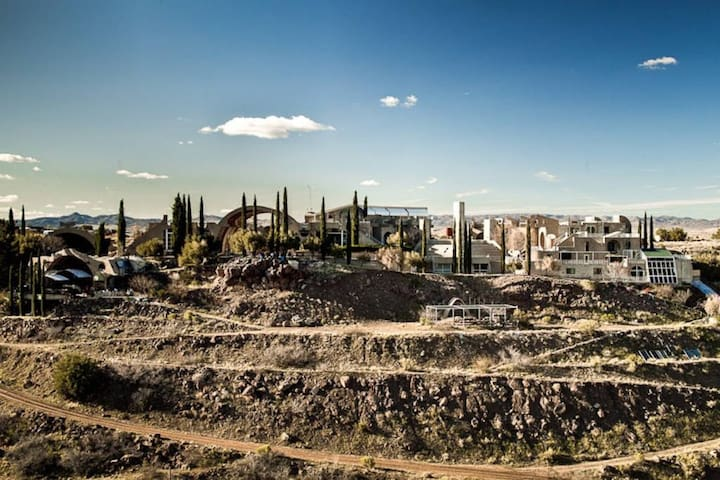 View of Arcosanti from across the mesa.