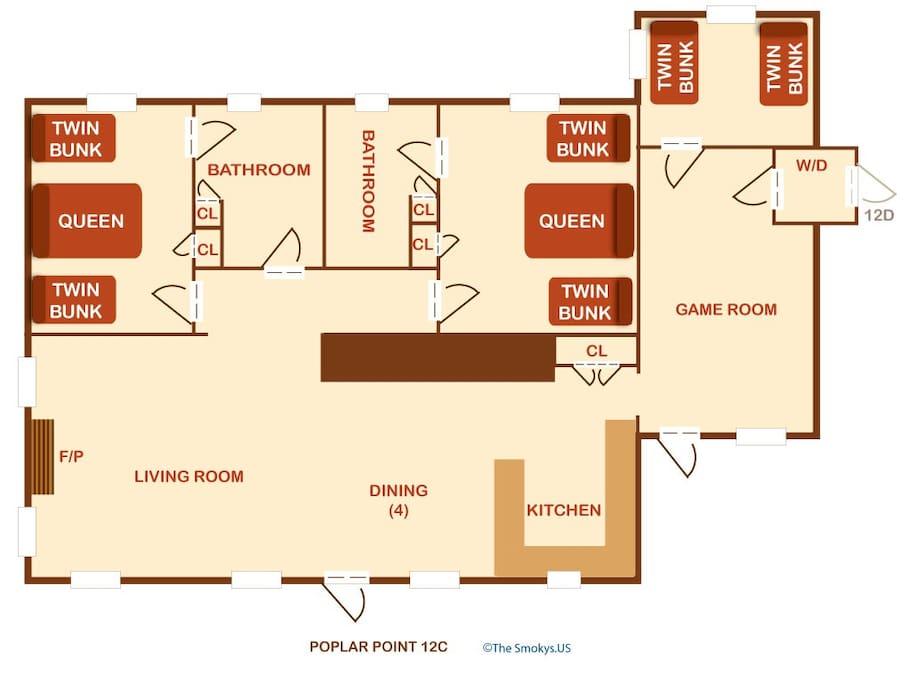 Poplar Point Condo Unit 12C-Floor Plan