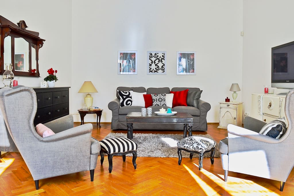 Relax in this spacious,  light living room, so much more space than a hotel