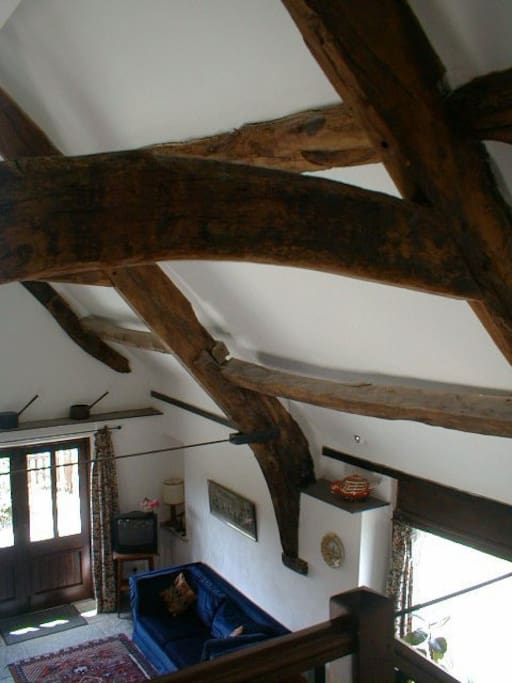 A view of ancient beams from the gallery.