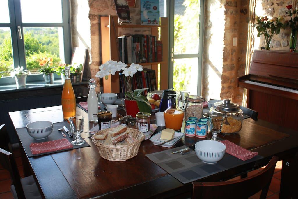 Le petit déjeuner maison avec les produits locaux