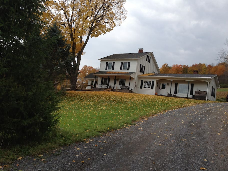 Catskill Maple House - front of house during fall