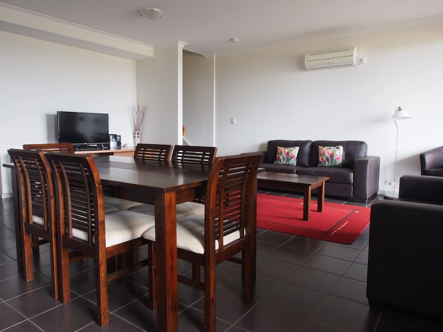 Spacious dining and lounge