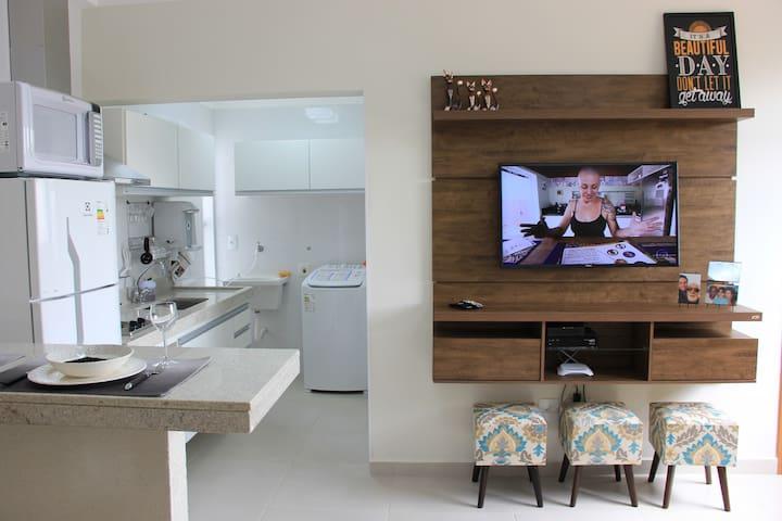 41 Apto novo, completo, próx. USP, wi-fi, smart TV - São Carlos - Apartamento