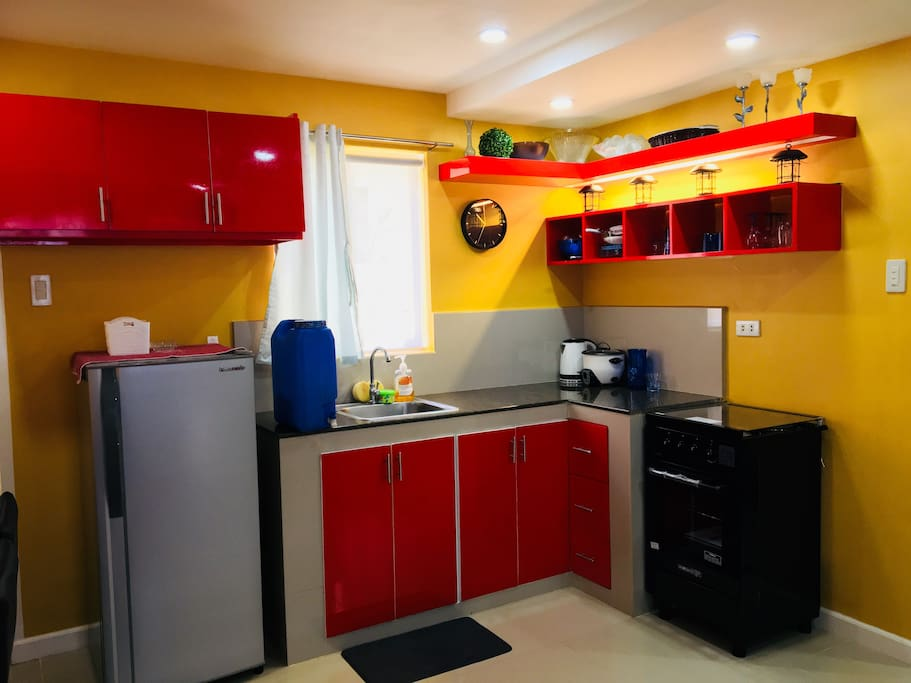 Kitchen with lighting.
