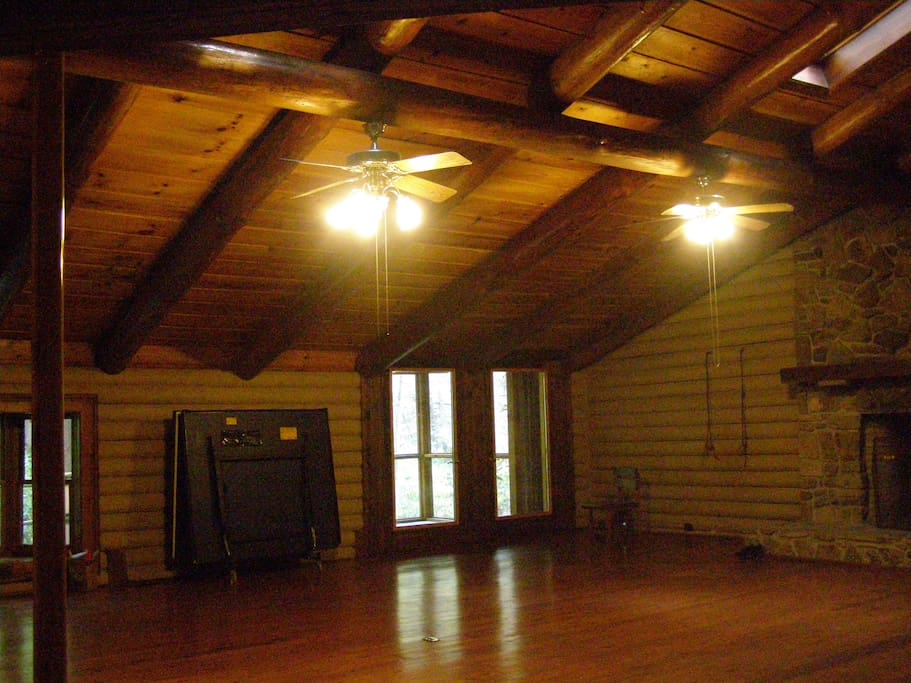 Great room with fireplace, pingpong table, Yoga wall ropes, bay window, screened porch, fireman's pole.