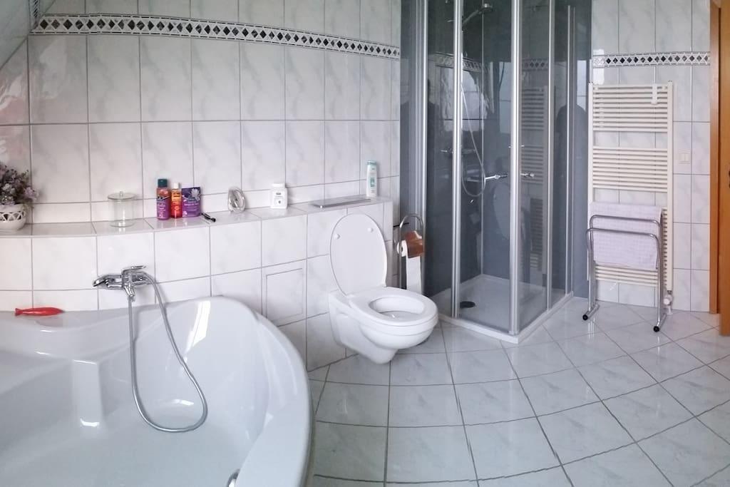 Das Bad mit Dusche, Waschbecken,   WC und Eckbadewanne.
