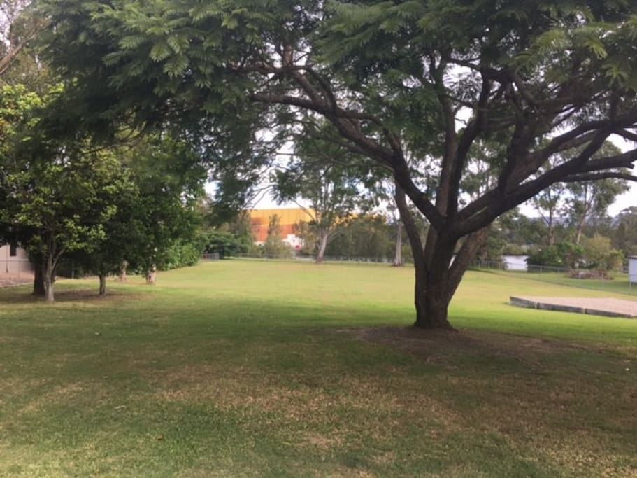 Back yard with views of the stadium