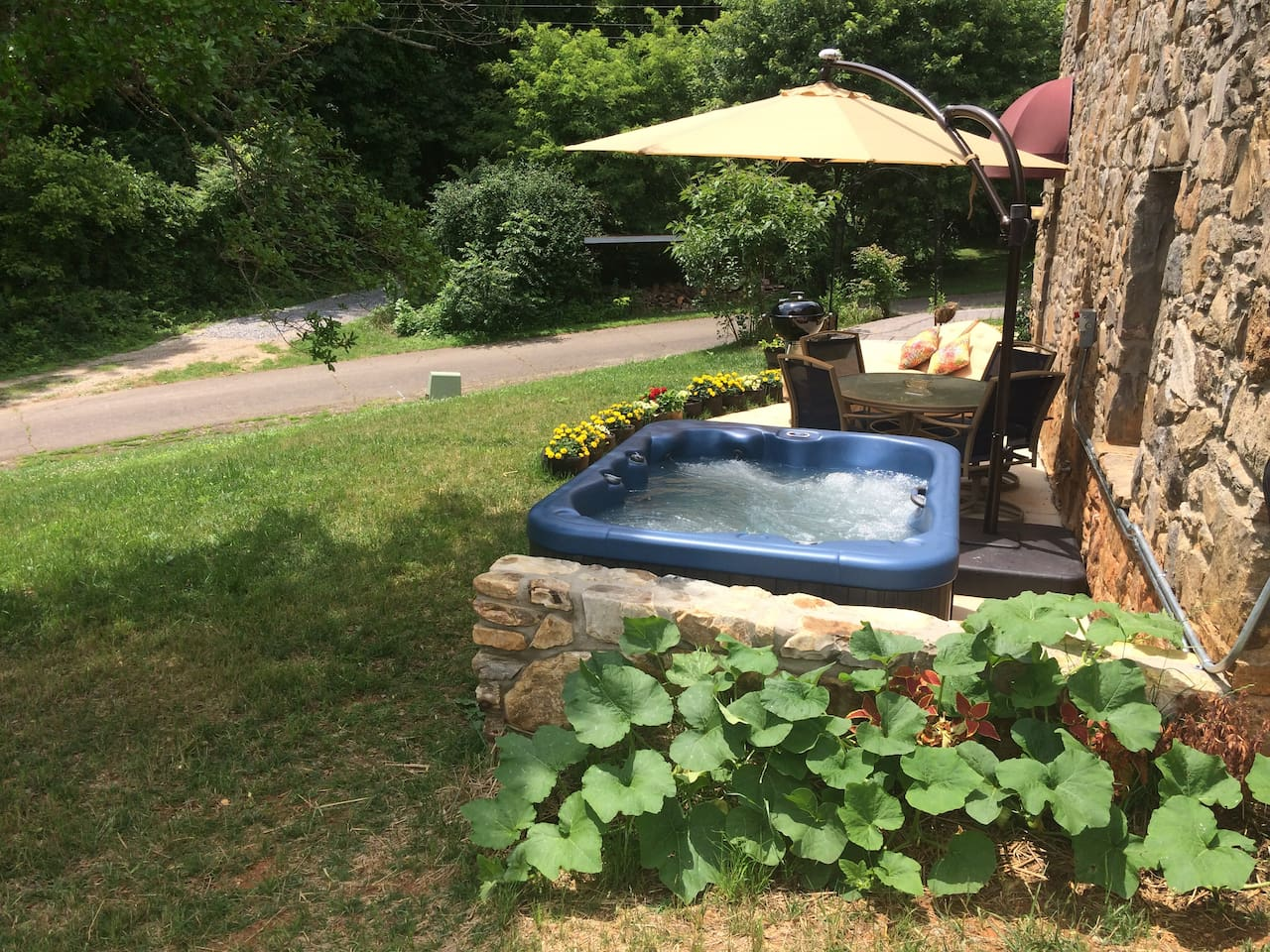 Private Patio with Private Hot-tub & 270 Degree Green Panoramic Mountainous Countryside View
