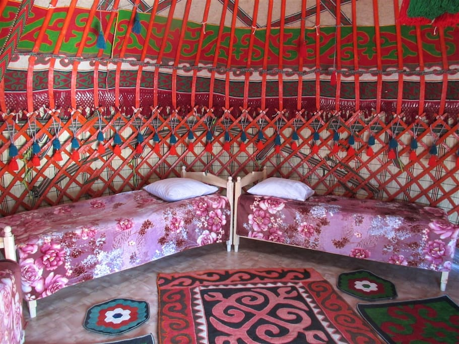 Inside the yurt. It has a heating system, electricity, WiFi