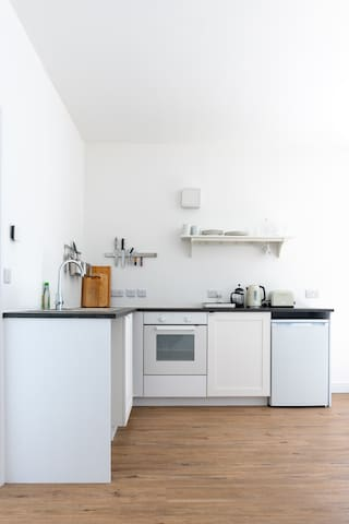 The well-equipped, newly fitted kitchen area