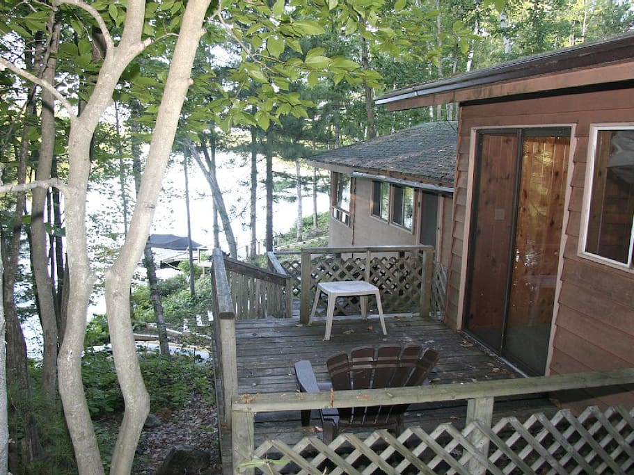 Cottage 3 side deck overlooking lake view. Deck is off of master bedroom.