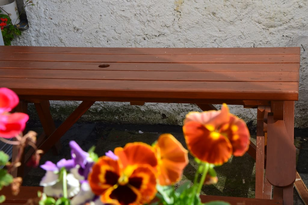 Bench with table outside