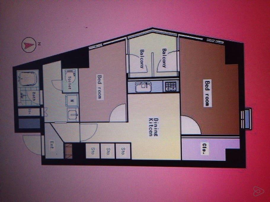 2LDK, 2 rooms, living, dining & kitchen