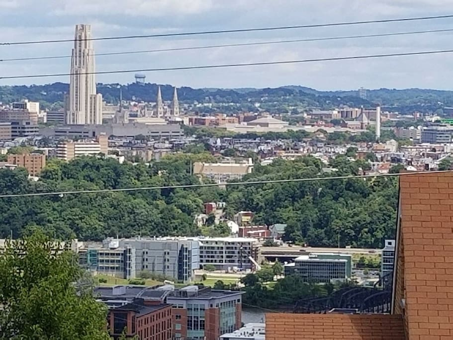 Welcome to Pittsburgh! This is the lovely view from your room of the Cathedral of Learning.